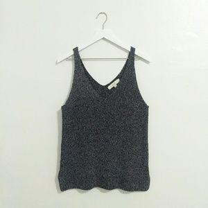 LOFT Grey Heathered Knit Sweater Tank Top